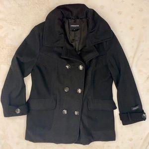 London Fog Pea Coat, 3/4 Length, Black, Size 16